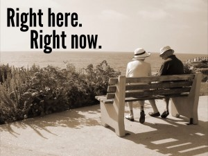 Be here now couple on bench