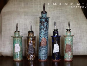 Blankenship Farms Pottery Oil Bottles or Soap Bottles